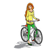 Girl and bicycle — Stock Vector