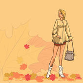 Girl and autumn leaves — Stock Vector