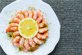 Shrimp Cocktail and Lemon — Stock Photo