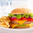 Burger and French Fries on the plate. — Stock Photo