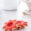 Cookies in the form of a red asterisk — Stock Photo