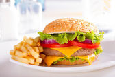 Burger and French Fries on the plate. — 图库照片