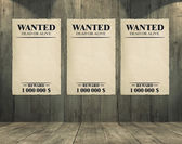 Wanted Sheet, Old Paper on Wood Texture Background — Stock Photo