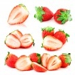 Big compilation of strawberries with green leaf — Stock Photo