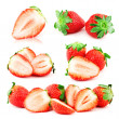 Stock Photo: Big compilation of strawberries with green leaf