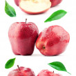 Big compilation of red apples with leaf and drops — Stock Photo