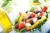 Fresh Vegetable salad (greek salad). Useful vitamin food. — Stock Photo