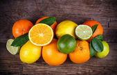 Fruits on wood texture background — Photo