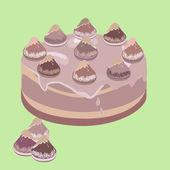Chocolate cream cake — Stock Vector