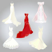 Set of wedding dresses — Stock Vector