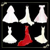 Collection de robes de mariée — Vecteur