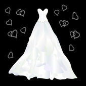 Wedding dress with ruffles wedding dress with ruffles on the bla — Stock Vector