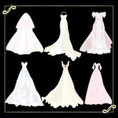 Collection of wedding dresses 1 — Stock Vector