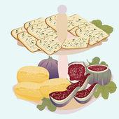 Frutta, biscotti, formaggio blu, fichi per colazione — Vettoriale Stock