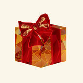 Polygonal box with a bow — Vector de stock