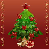 Polygonal Christmas tree and gifts — Vector de stock