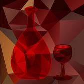 red polygonal bottle and glass — Stock Vector