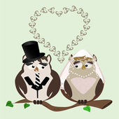 Owl bride and groom — Stock Vector