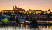 Old Prague from Charles bridge ar sunset — Stock Photo
