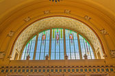 Stained glass window in the historical central railway station, — Stock Photo