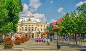 Neo-renaissance building of Slovak National Theater and Hviezdos — Stock Photo