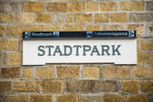 """The sign of the famous Vienna subway station """"Stadtpark"""" — Stock Photo"""
