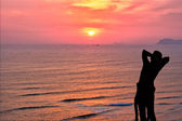 Surfer Admires Sunset — Stock Photo