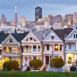Panorama view of Alamo Square at sunset.  — Stock Photo