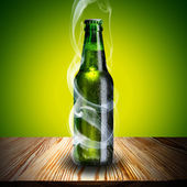Cold Beer Bottle with Chill smoke on wood table — Stock Photo