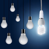 One Light bulb turn on — Stock Photo