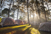 Camping tent with fog and sun ray — Stock Photo