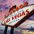 Welcome To Las Vegas neon sign at sunset — Stock Photo