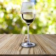 White wine on wood table  — Stock Photo