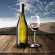 Bottle and glass of white wine — Stock Photo