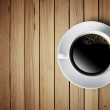 Cup of hot coffee on wood table — Stock Photo