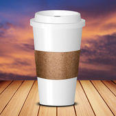 Take away coffee cup on wood table — Stockfoto