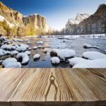 Wooden floor with Yosemite view — Stock Photo #30218245