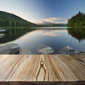 Wood floor with Trilium Lake — Stock Photo