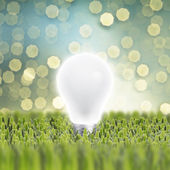 Light bulb on green grass — Stock Photo