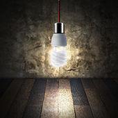 Lâmpada de luz no quarto vazio — Foto Stock