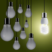 Light bulbs hanging from the roof — Stock Photo