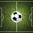 Ball on the grass of soccer field — Foto de Stock