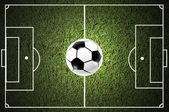 Ball on the grass of soccer field — Stock Photo