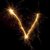 Flame V letter — Stock Photo