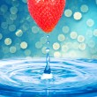 Water drop from Strawberry — Stock Photo