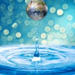 Water drop from globe — Foto de Stock