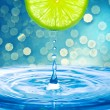 Water drop from slice of lemon — Foto de Stock