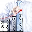 Businessmhand drawing increase graph — Stock Photo #31431119