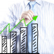 Businessmhand drawing increase graph — Stock Photo #31431125