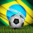 Soccer ball with Brazil flag on background — Stock Photo #31431839